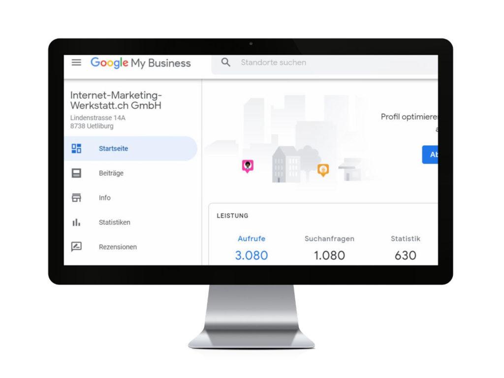 Google My Business SEO - Unser Account mit 3080 Aufrufen in 28 Tagen